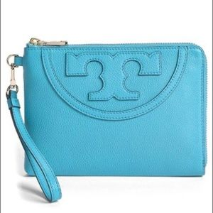 Tory Burch Large All T Leather Wristlet Torquoise